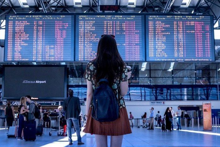 Aéroport, Femme, Vol, Embarquement, En Voyageant